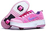 Zapatillas con Ajustable Rueda para niños niña Zapatos con Dos Ruedas Automática Calzado de Skateboarding Deportes de Exterior Patines en Línea Aire Libre (Rosa Dos Ruedas, Numeric_34)