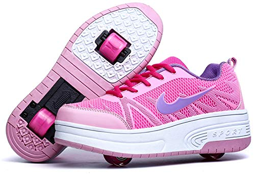 Zapatillas con Ajustable Rueda para niños niña Zapatos con Dos Ruedas Automática Calzado de Skateboarding Deportes de Exterior Patines en Línea Aire Libre (Rosa Dos Ruedas, Numeric_36)