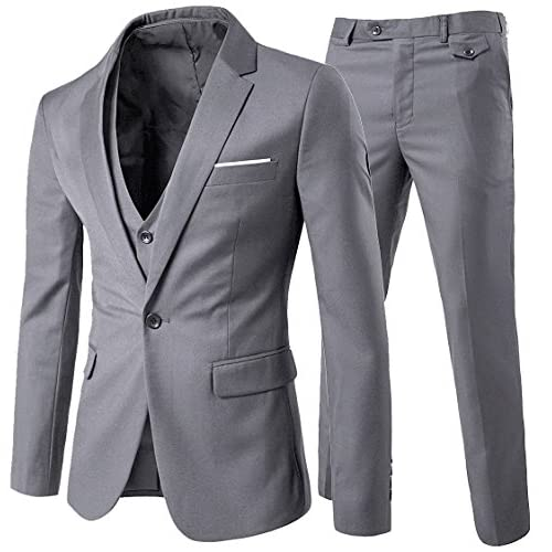 Mens Suits 3 Pieces Fitted Cut Classic Style One Button Formal Suits, Light Grey, XXL