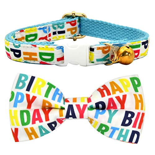 Happy Birthday Cat Breakaway Collar Bow Tie with Bell, Safety Buckle Collar Bowtie for Cats
