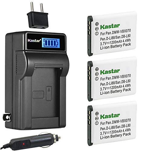 Kastar 3-Pack DB-L80 Battery and LCD AC Charger...