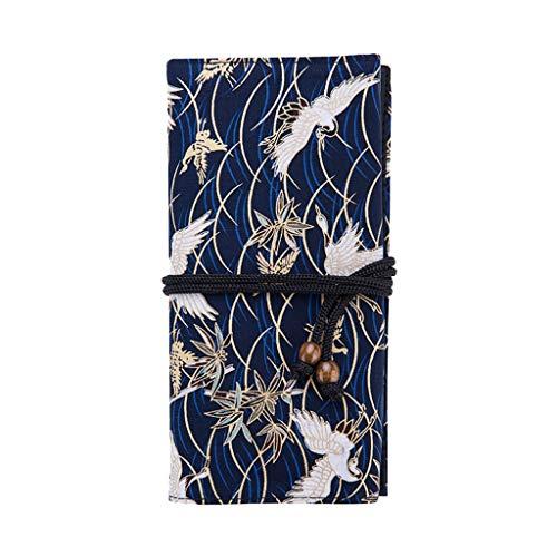 ZRYYD Make-up Pinsel Make-up Pinsel Organizer Aufbewahrungstasche Aufbewahrungstasche Rolltasche Retro chinesische Stil Pinseltasche (Karpfen, White Crane) (Color : A)