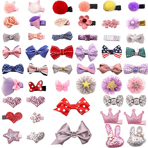 Price comparison product image DeD 50 Pieces Mini Hair Bow Clips Multiple Shapes Cute Fine Hair No Slip Baby Hairclips Hair Accessories for Baby Girls Infants Toddler Kid