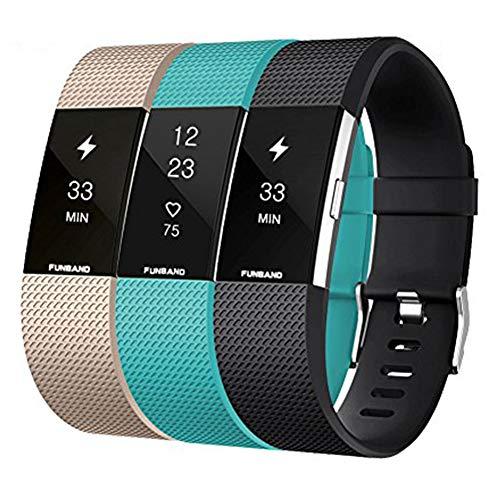 FunBand Compatible per Cinturino Fitbit Charge 2 Edizione Speciale Morbido Sportivo di Ricambio in TPE, Accessori per Orologio alla Moda per Fitbit Charge 2