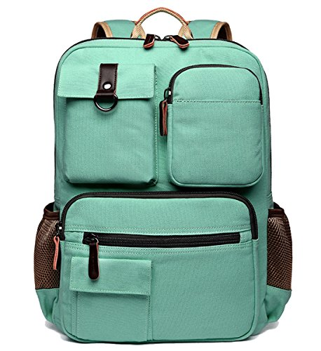 School Backpack Vintage Canvas Laptop Backpacks Men Women Rucksack Bookbags, Mint Green