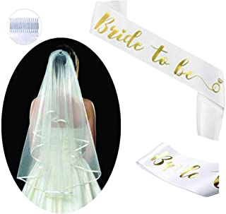 Bride to be Sash and Veil Kit | Bachelorette Party Decorations & Supplies - White Satin Sash with Gold Foil Letter + 2-Tiers Classy Veil |Favors,Gift for Engagement, Wedding, Hen Party & Bridal Shower