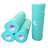 UKEENOR Reusable Cleaning Cloth Heavy Duty Kitchen Cleaning Towels Handy Wipes Dish Washing Cloth Machine Washable 4 Rolls Total 200 Sheets Green