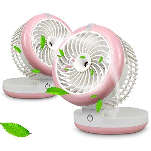 Ventilator Klein, Miya Mini Tischventilator Ventilator USB, Ventilator Zusammenklappbarer, Ventilator Standventilator, Wiederaufladbare für Zuhause Urlaub Schminken Camping oder Reise usw - Rosa