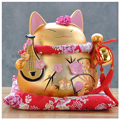 GYJZZW Céramique Statue Sculpture 8 Pouces Maneki Neko Céramique Chat Chanceux avec Luth Décor À...