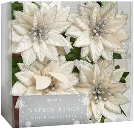 Nantucket H Holiday White Max 84% OFF Poinsettia Napkin Set of Rings Import 4