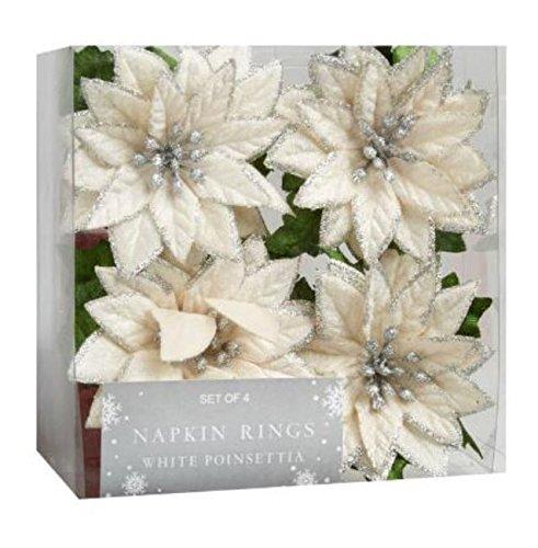 Nantucket H Holiday White Poinsettia Napkin Rings Set of 4