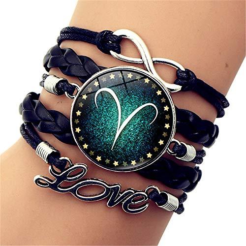 SLVVL Twaalf sterrenbeelden Ram tijd edelsteen armband LOVE letters retro multi-layer geweven armband sieraden