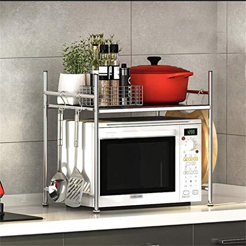 Estante de cocina para microondas 1 capa de división de acero al carbono, gran capacidad de almacenamiento, tipo piso, 23.2 x 14.5 x 19.6 pulgadas