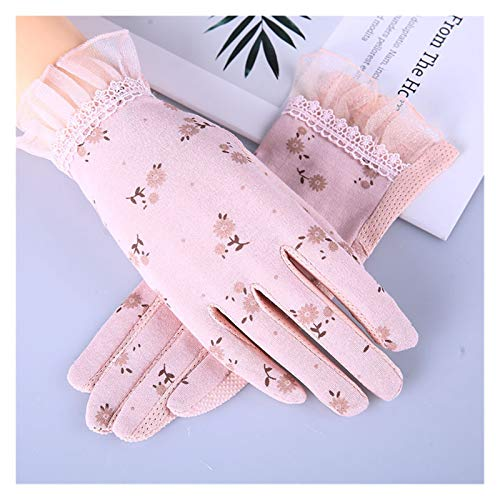 JSJJRFV Guantes de Verano Otoño Mujeres Sunscreen Guantes Resistente a la conducción Guante Guante Spring Summer Girls Thin algodón Lace Anti UV Touch Pantalla Mittens (Color : Baby Pink)