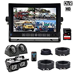 DOUXURY Backup Camera System, 4 Split Screen 7'' Quad View Display HD Monitor with DVR Recording Function, Waterproof Night Vision Cameras x 4 for Truck Trailer Heavy Box Truck RV Camper Bus