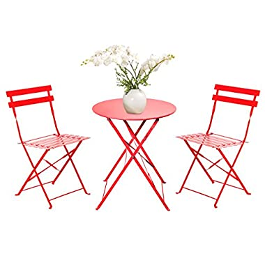 Grand patio 3-Piece Folding Outdoor Bistro Sets, Portable Steel Patio Furniture Sets, Weather-Resistant Garden Table and Chairs, Red
