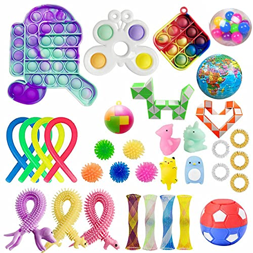 Cherislpy 34 Pack Sensory Pop Fidget Pack Autism Special Fidget Toys Sets for Kids Boys Girls Stress Relief and Anti-Anxiety Toys Assortment Special Puzzle Balls for Birthday Party Favors