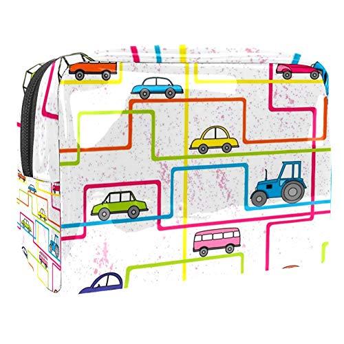 TIZORAX Kleurrijke Bus En Auto's In lijn Cosmetische Tassen PVC Make-up Tas Reizen Toiletten Handige Organizer Tas voor Vrouwen