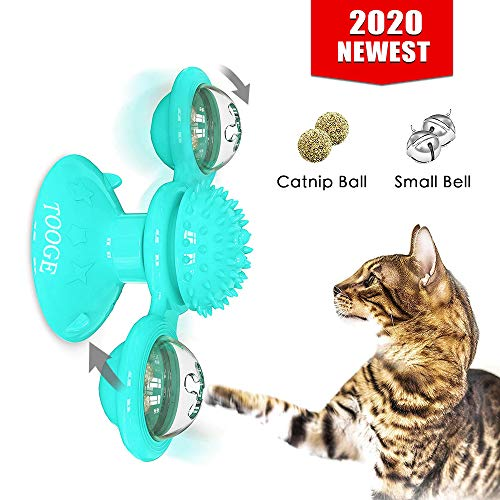 TOOGE Windmill Cat Toy Turntable Teasing Interactive Cat Toys for Indoor Cats with Suction Cup Scratching Tickle Cats Hair Brush Funny Kitten Toys with Catnip and Bells (Blue)