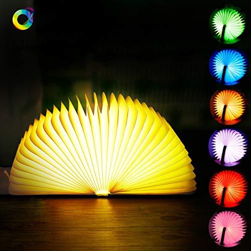 LED Stimmungsbeleutung, Faltbar Buchlampe 7 Farbe Nachttischlampe aus Buch Desigh PU Leder 1800mAh dekorative Lampen als Nachtlicht Dekoration Geschenk etc.