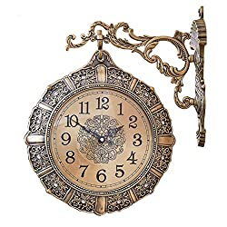 European-Style Retro Living Room Mute Double-Sided Clock Personality American Two-Sided Wall Clock Creative Metal Clock Pocket Watch