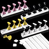 Kalolary 4 Sets Nail Tips Stand Holders with 102Pcs White Reusable Adhesive Putty Clay, Practice Stand Base Display Tools Set for Nail Art Salon DIY and Practice Manicure(4 Colors)
