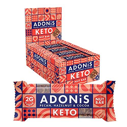 Adonis Low Sugar Nut Bar - Barritas de Pacanas Crujiente Sabor de Cocoa   100% Natural, Baja en Carbohidratos, Sin Gluten, Vegano, Paleo, Keto (16)