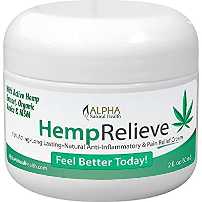 Organic Hemp Extract Pain Relief Cream Plus Arnica and MSM by Alpha Natural Health