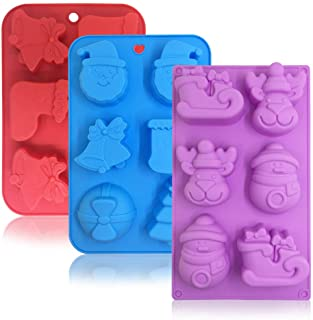 3 Pack Silicone Christmas Molds,Danzix Non-Stick Chocolate Jelly Baking mold for Party Xmas Gift,with Shape of Christmas tree,Elk,Socks,Bells,Gift, Snowman,Sleigh,Santa Claus -Red,Blue,Purple
