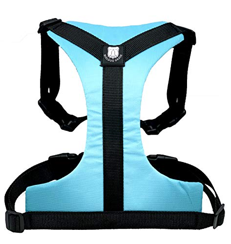 Bulldog Grade Harness for English-American-French Bulldogs - Custom Fit, No Pull, Reflective Vest Harnesses for Your Bully (Large, Lazy Light Blue)