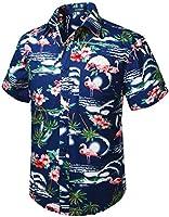 HISDERN Mannen Funky Hawaiian Shirts Korte Mouw Voorzak Vakantie Zomer Aloha Gedrukt Strand Casual Hawaii Shirt S-2XL
