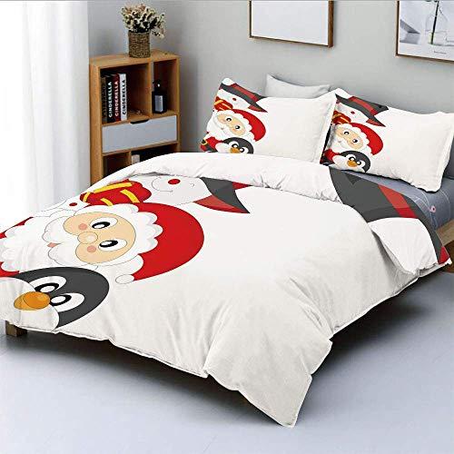 Qoqon Bettbezug-Set, Freundliche Happy Santa Claus Pinguin Schneemann Festliche Urlaub Design Design DekorativDekorative 3-teilige Bettwäsche-Set mit 2 Kissen Sham, Anthrazit Grau Rot Weiß