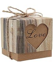 Gespout Cajas Dulces Caramelos Cumpleaños Regalo Embalaje para Niños Bebé Infancia Hecho a Mano Candy Box 50pcs LOVE Patrones Café