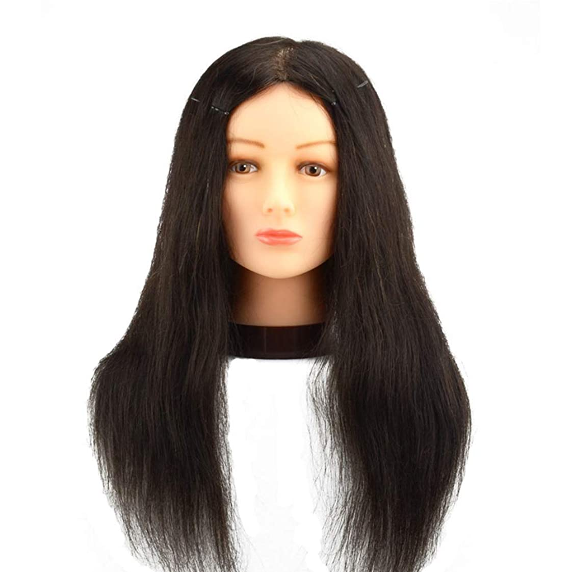 甘美な気分が良いピカリング理髪店パーマ髪染め練習かつらヘッドモデルリアルヘアマネキンヘッド化粧散髪練習ダミーヘッド,20inches