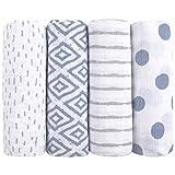 Langes pour bébés en mousseline emma & noah, lot de 4 pièces, 100% coton, 80 cm x 80 cm, bavoir pour bébés tendre et doux (Diamant bleu)