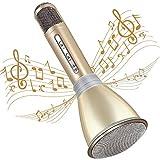 TOSING Micrófono Inalámbrico Bluetooth, Leeron Micrófono Portátil Karaoke con Altavoz, Compatible con PC iPad iPhone Smartphone Android/iOS AUX (Oro)