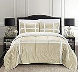 Elegant Comfort Micromink Stripe Lined Sherpa Comforter Set, Premium Down Alternative Micro-Suede 3-Piece Reversible Comforter Set, King/California King, Mocha/Taupe