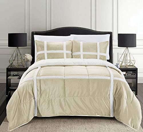 Elegant Comfort Micromink Stripe Lined Sherpa Comforter Set, Premium Down Alternative Micro-Suede 3-Piece Reversible Comforter Set, Full/Queen, Mocha/Taupe
