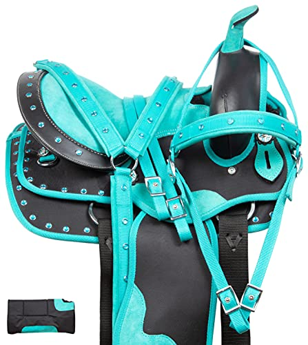 """Acerugs 10"""" 12"""" 13"""" Youth Western Horse Pony Saddle TACK Set Kids Barrel Racing Show Trail Crystal Bridle Breastplate REINS PAD (Turquoise, 10)"""