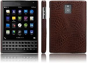 USPANDI [Ultra Slim] Classic Crocodile Skin Pattern PU Leather Anti-scratch PC Protective Hard Case Cover for BlackBerry Passport Q30 (Color : Brown)