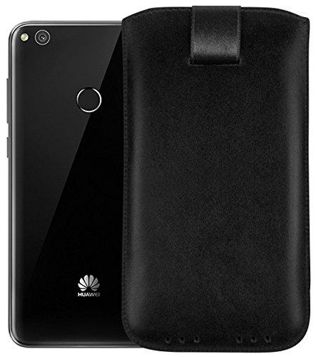 mumbi Echt Ledertasche kompatibel mit Huawei Ascend Y200 Hülle Leder Tasche Case Wallet, schwarz - 2