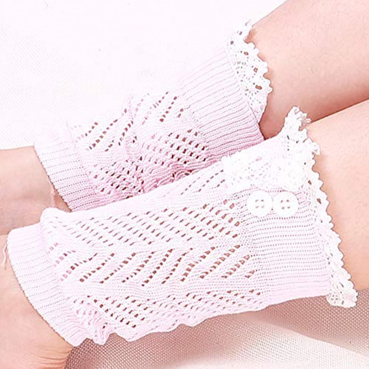 Women's Comfortable Leg Ankle Warmers Lace Ankle Warmth Pile Socks (color   Pink)