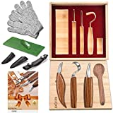 12pcs Wood Carving Tools Set-WAYCOM Hook Carving Knife,Detail Wood Knife,Whittling Knife Cut Resistant Gloves Leather Sheath And Bamboo Gift Box For Spoon,Bowl,Cup Or General Woodwork