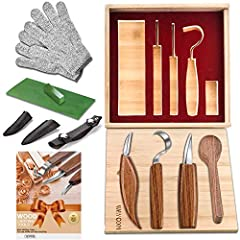 🌴【Multiple Tool Sets🔼Lifetime Warranty】 ► ►The Bamboo Box is including these tools: [Sloyd Knife+leather sheath],[Chip Carving Knife+leather sheath],[Hook Knife+ leather cover sheath],Cut Resistant Gloves,Wood Carving Spoon Blank,Leather Strop,Polish...