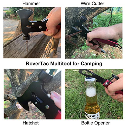 51DCkYRibHL - RoverTac Multitool Camping Tool Survival Gear Handy Gifts for Men Women UPGRADED 14 in 1 Stainless Steel Sturdy Multi Tool with Axe Hammer Knife Saw Plier Screwdrivers Bottle Opener Durable Sheath