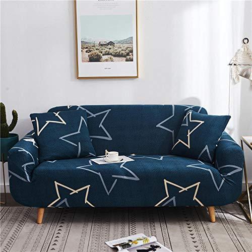 Funda de Sofá Elástica Funda Sofá Gruesa Antideslizante, Cubierta Sofa Muebles con Cuerda de Fijación Antideslizante Protector de Muebles (Estrella de Cinco Puntas, Azul, 3 Plazas )
