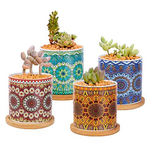 ANSUG Confezione da 4 vasi per Fiori succulenti con Vassoio in bambù, vasi per Piante Piccole in Ceramica Mandala Mini fioriera per Cactus per Giardino e Decorazioni per L'Ufficio Domestico