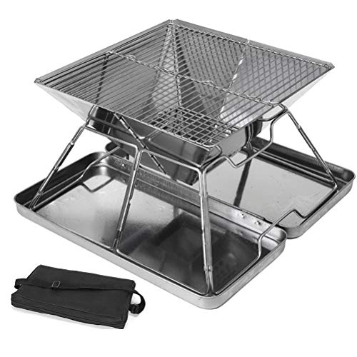 XIYAN Garden Party Picnic BBQ with Storage Bag, Charcoal Grill Stainless Steel Grill Portable Folding BBQ for Outdoor Hiking Camping Grill