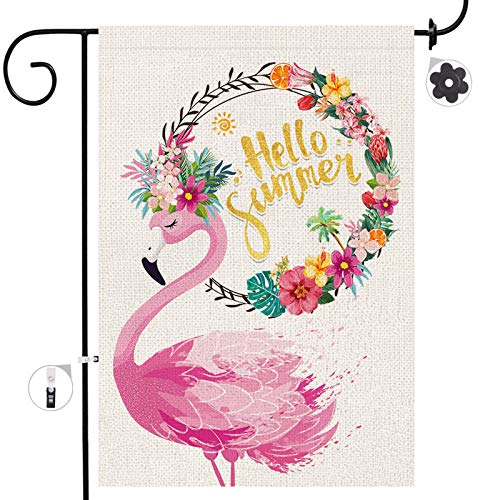 Bonsai Tree Summer Garden Flag, Pink Flamingo Seasonal Burlap Yard Flags 12x18 Double Sided Prime, Hello Summer Beach Tropical Flowers Wreath Welcome Signs Gifts Lawn Home Garden Outdoor Decor