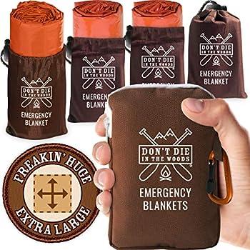 Don t Die In The Woods - Freakin' Huge Emergency Blankets [4-Pack] Extra-Large Thermal Mylar Space Blankets with Ripstop Nylon Stuff Sacks + Carabiner Zipper Pack [Survival Orange]
